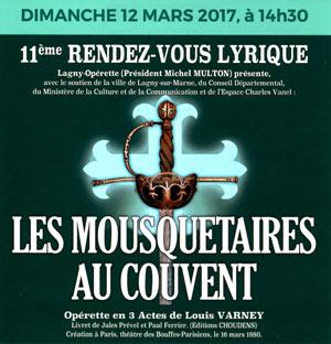 LES MOUSQUETAIRES AU COUVENT, Lieu : ESPACE CHARLES VANEL