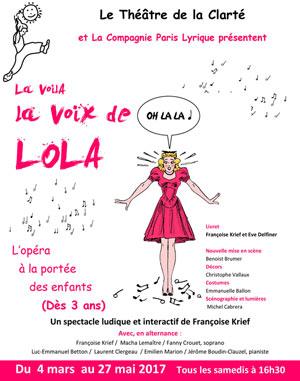 LA VOILA LA VOIX DE LOLA Théâtre de La Clarté pièce de théâtre pour enfant