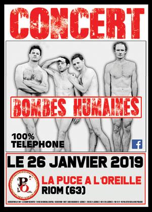 TRIBUTE TELEPHONE -  BOMBES HUMAINE La Puce à l' Oreille concert de rock