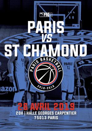 PARIS BASKETBALL - SAINT-CHAMOND HALLE CARPENTIER rencontre, compétition de basket