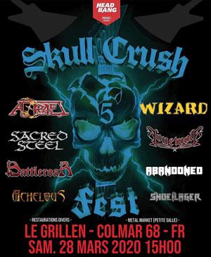 SKULL CRUSH FEST V - AZRAEL, WIZARD Le Grillen concert de rock