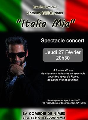 ITALIA MIA La Comédie de Nîmes concert de variété internationale