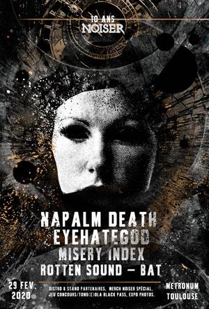 10ANS DE NOISER : NAPALM DEATH/EHG LE METRONUM concert de hard-rock métal