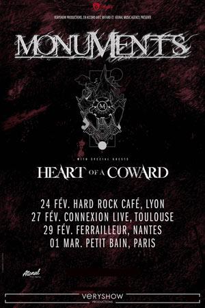 MONUMENTS + HEART OF A COWARD Hard Rock Cafe Lyon concert de hard-rock métal