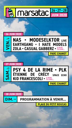 FESTIVAL MARSATAC 2020-PASS 2 JOURS Le Parc Chanot concert d'électro